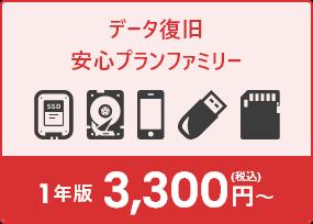 データ復旧安心プランファミリー 1年版 3300円~